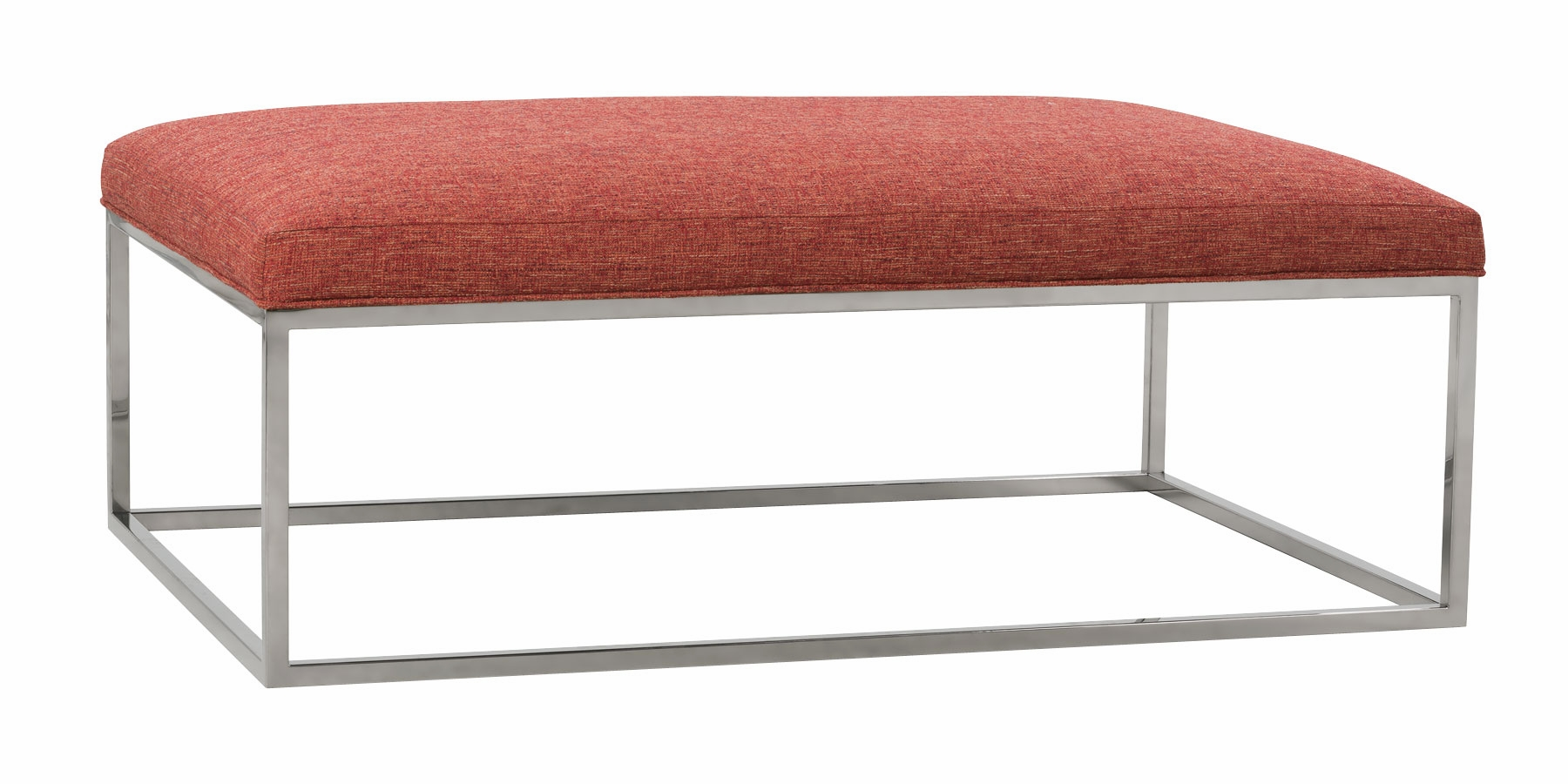 Fabric Upholstered Cofee Table With Chrome Finish Metal Base Club Furniture