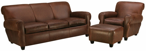 Leather Rolled Back Queen Sleeper Sofa And Club Chair Set