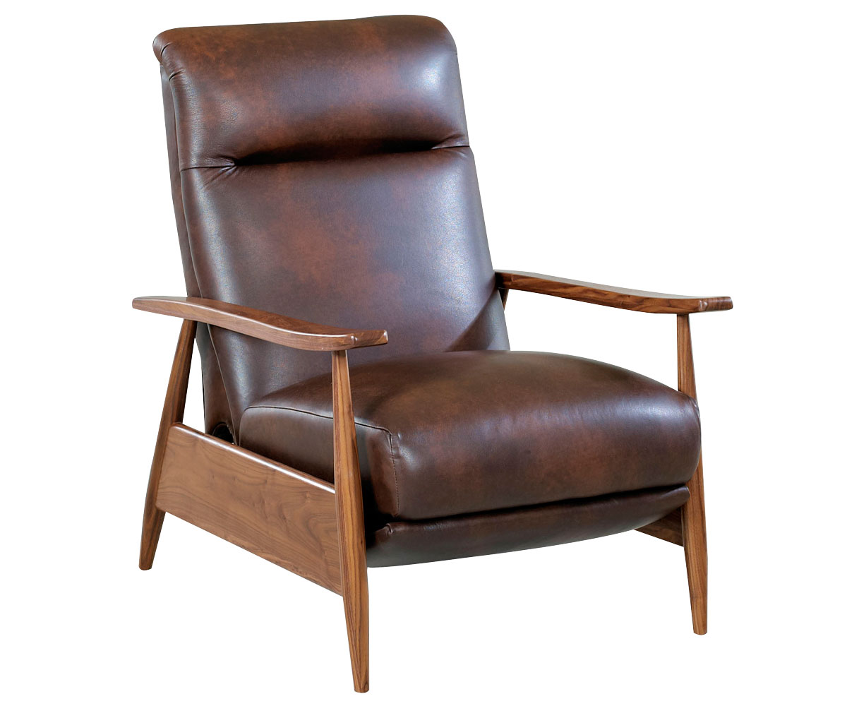 A modern recliner take on mid century design club furniture for Mid century modern leather chairs