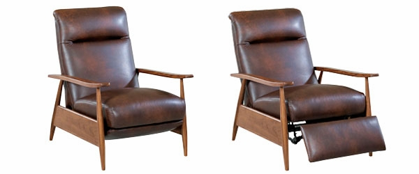 Leather retro mid century modern recliner chair club for Modern leather club chair