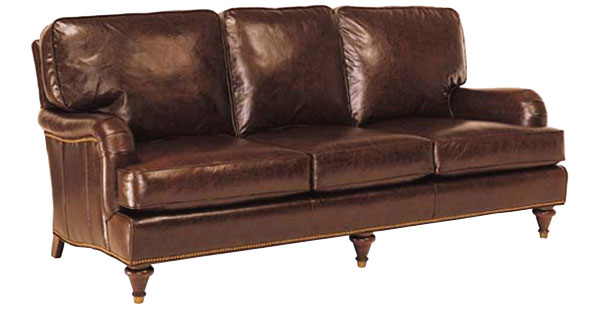 English arm leather furniture sofa set with antique brass for Traditional leather sofas furniture