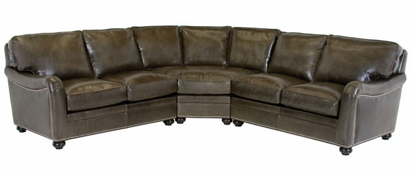 Leather 3 piece 8 way hand tied sectional sofa with for Sofa 8 way hand tied