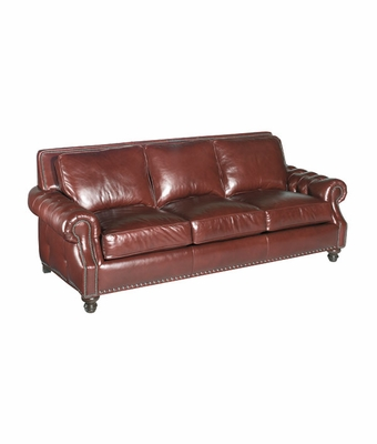 Leather pillow back sleeper sofa w tufted arms nail trim for Tufted leather sleeper sofa