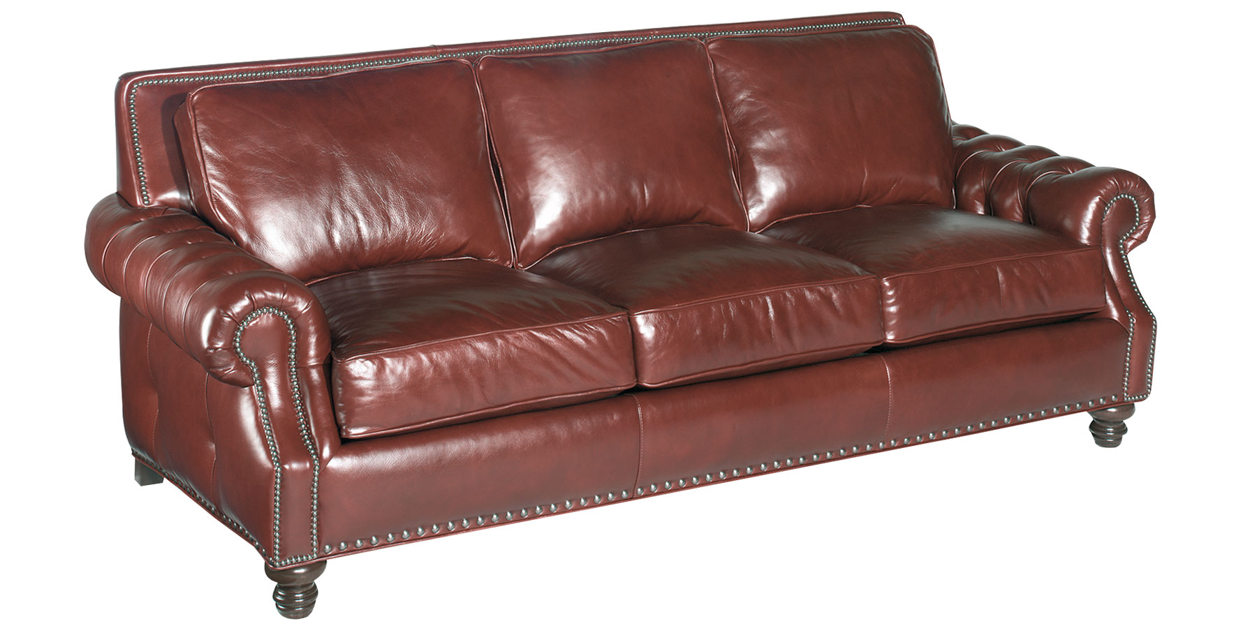 Leather Grand Scale Button Tufted Pillow Back Sofas Club Furniture