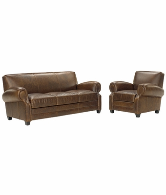 Large Leather Queen Sleeper Sofa With Matching Leather Reclining Chair Set Club Furniture