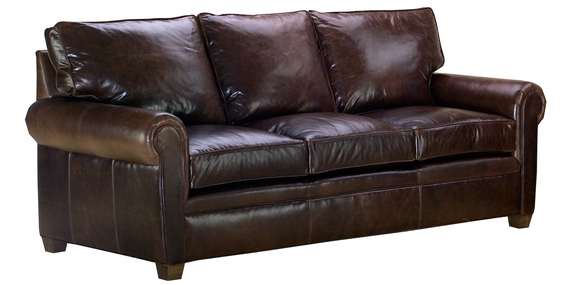 Classic Leather Sofa Set With Traditional Rolled Arms