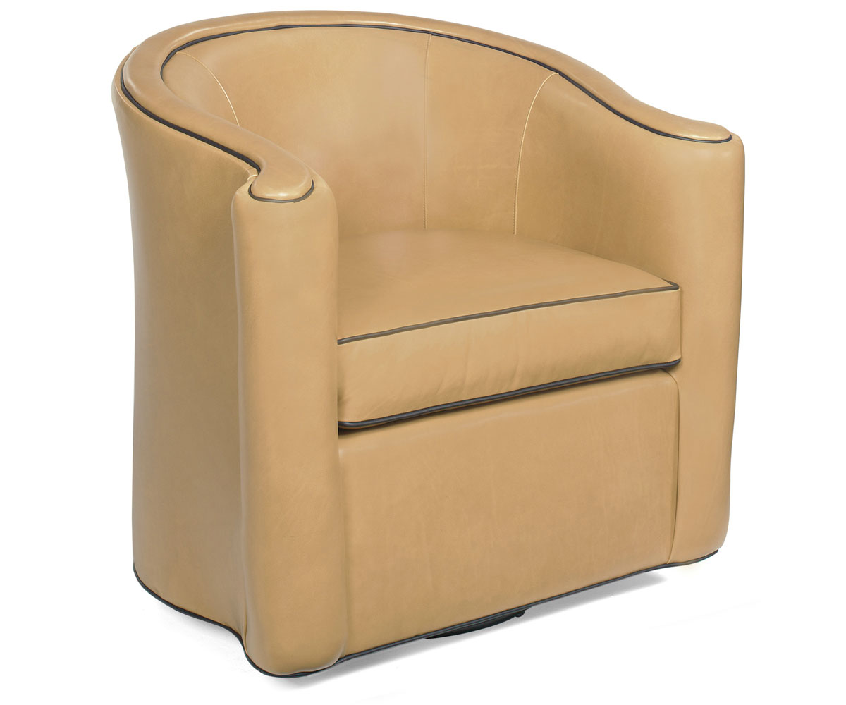 Leather tight back tub swivel chair w welt cord trim for Leather swivel tub chair