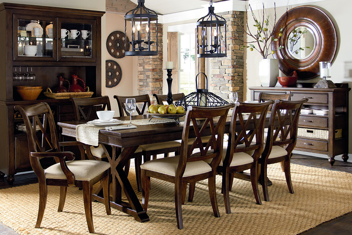 Wood Dining Room Chairs - Hunter formal cottage dining room furniture set