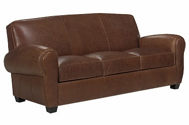 3 Cushion Distressed Leather Sleeper Sofa With Rolled Arms