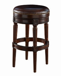 Backless Round Leather Swivel Barstool Club Furniture