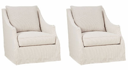 Set Of 2 Giuliana Quot Designer Style Quot Swivel Slipcover Accent