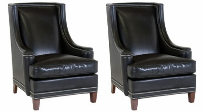 Set of 2 walter designer style leather living room for Formal living room accent chairs