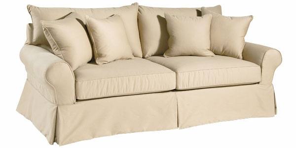 Slipcovered Pillow Back Beach House Sofa W Padded Rolled Arms