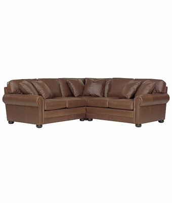 Oversized 3 Piece Deep Seated Leather Sectional Club