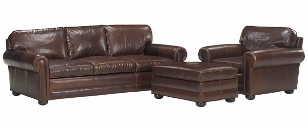 Extra Large Leather Pillow Back Sofa And Club Chair Set | Club