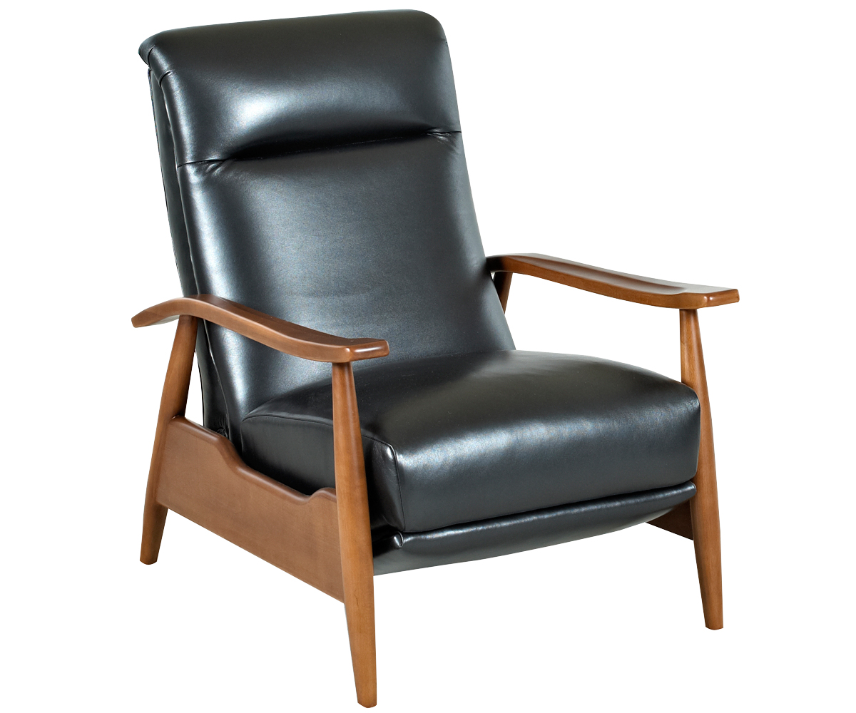 Mid century leather reclining club chair for Modern leather chair