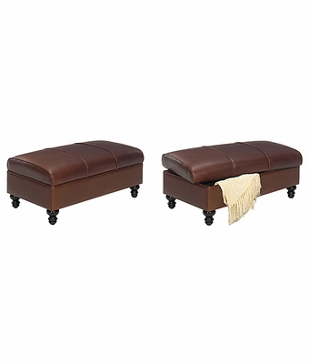 leather upholstered coffee table ottoman with storage club furniture