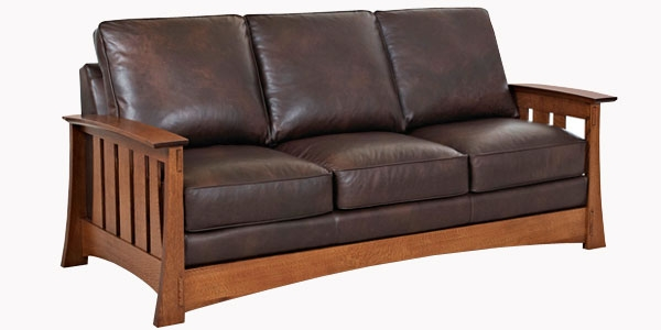Leather Mission Arts And Crafts Style Sofa Club Furniture