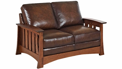 Leather Mission Craftsman Style Loveseat Club Furniture