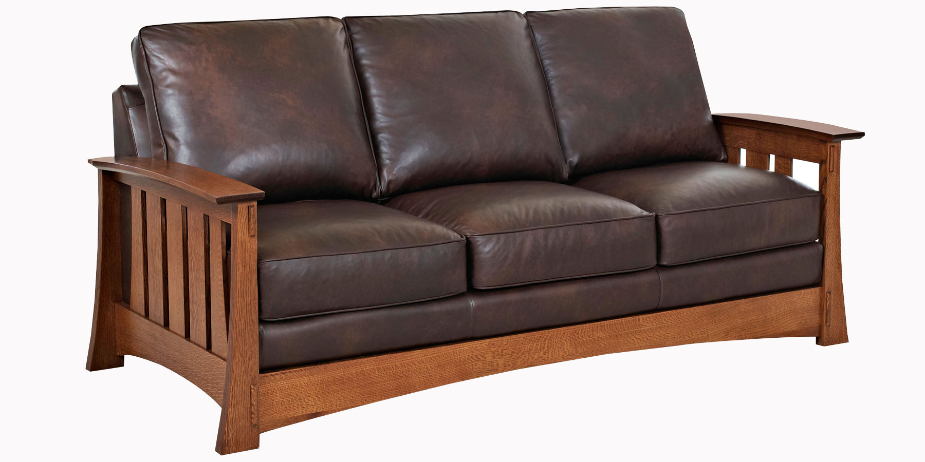 Mission Style Leather Pillow Back Living Room Seating