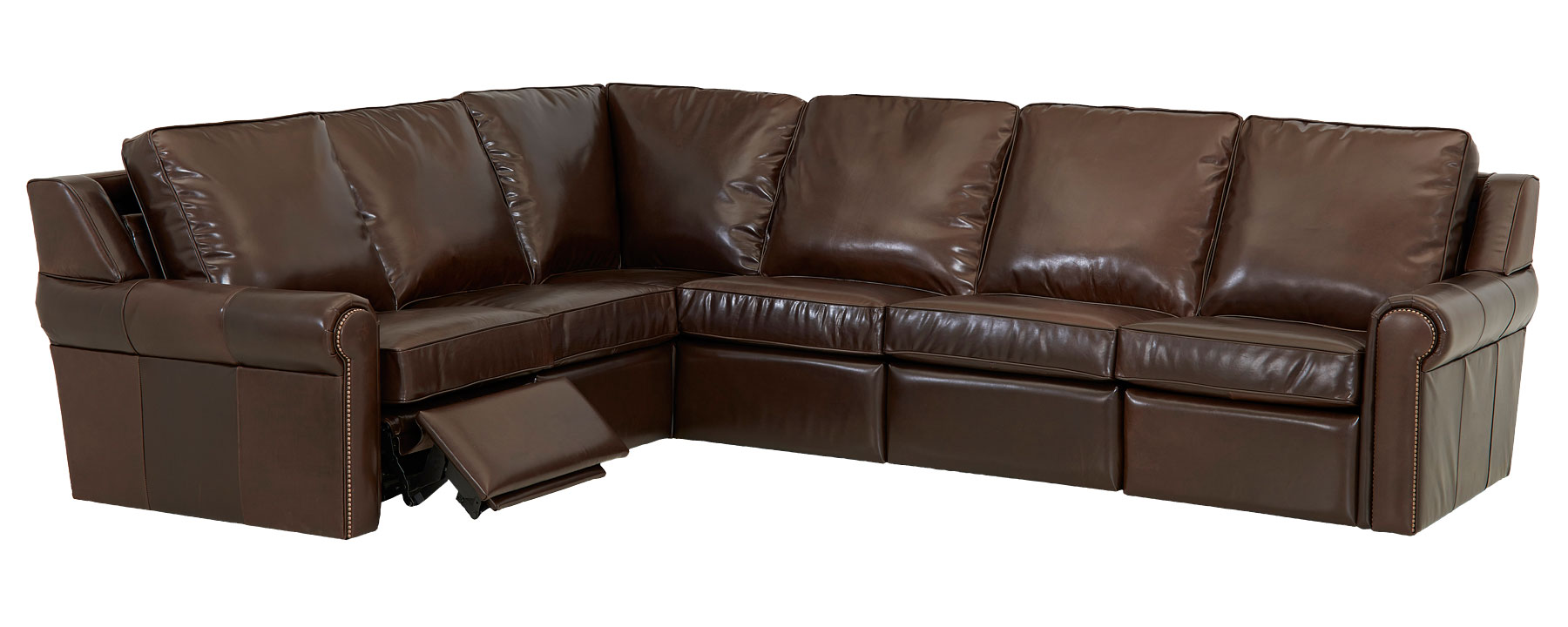 Thompkins leather electric power reclining sectional as for Build your own leather sectional sofa