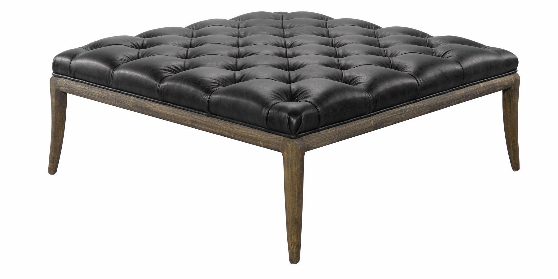 Titus Quick Ship Tufted Leather Coffee Table Ottoman
