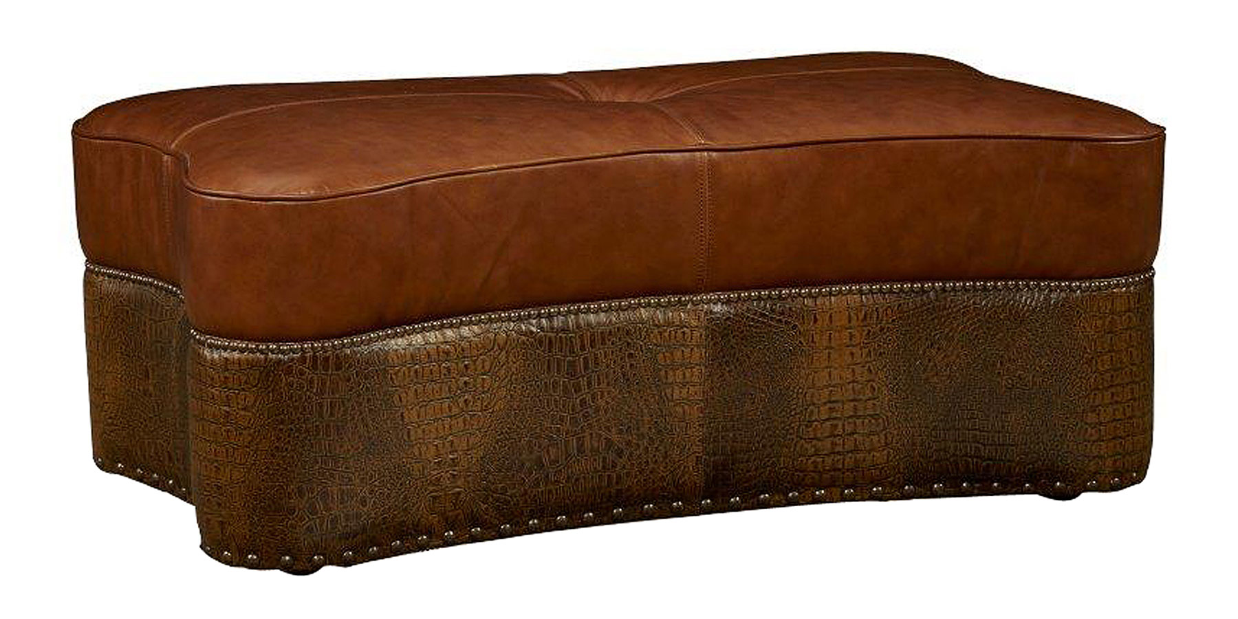 Tobias Quick Ship Two Tone Leather Coffee Table Ottoman Ottomans Benches