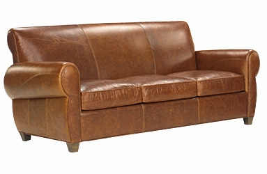 Rustic Leather Queen Sleeper Sofa With Cigar Arms | Club Furniture