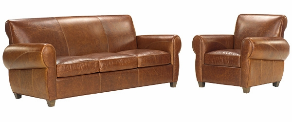 Rustic Leather Sofa And Reclining Cigar Chair Set Club Furniture - Leather sofa reclining