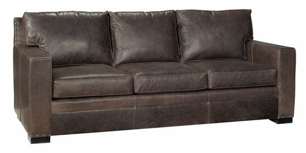 Delightful Leather Pillow Back Couch With Square Arms And Nail Trim Club