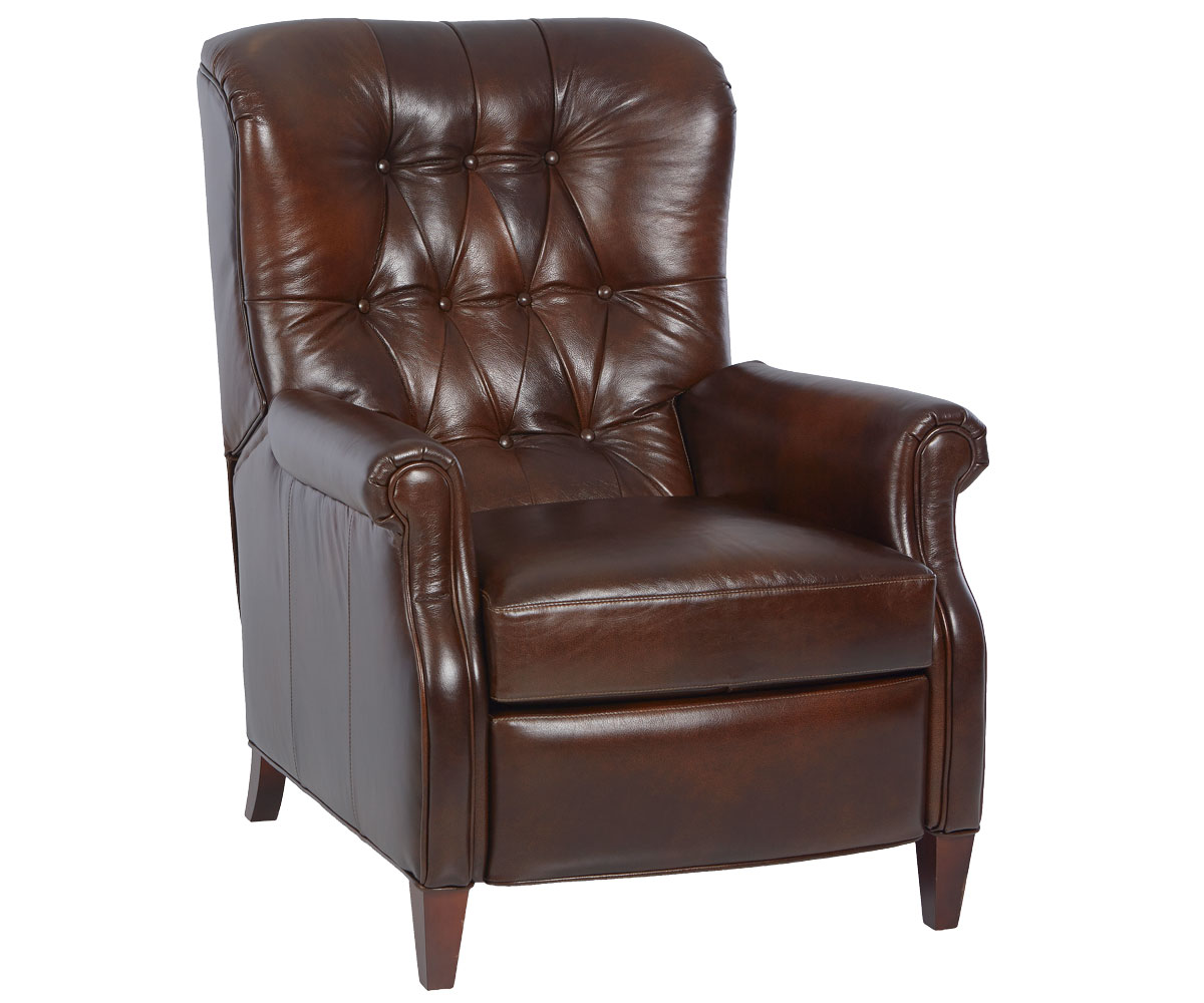 Wentworth narrow tufted leather recliner leather recliners for Chair recliner