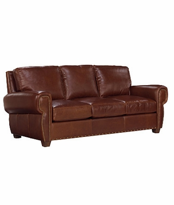 Leather Pillow Back Loveseat W Nail Head Trim