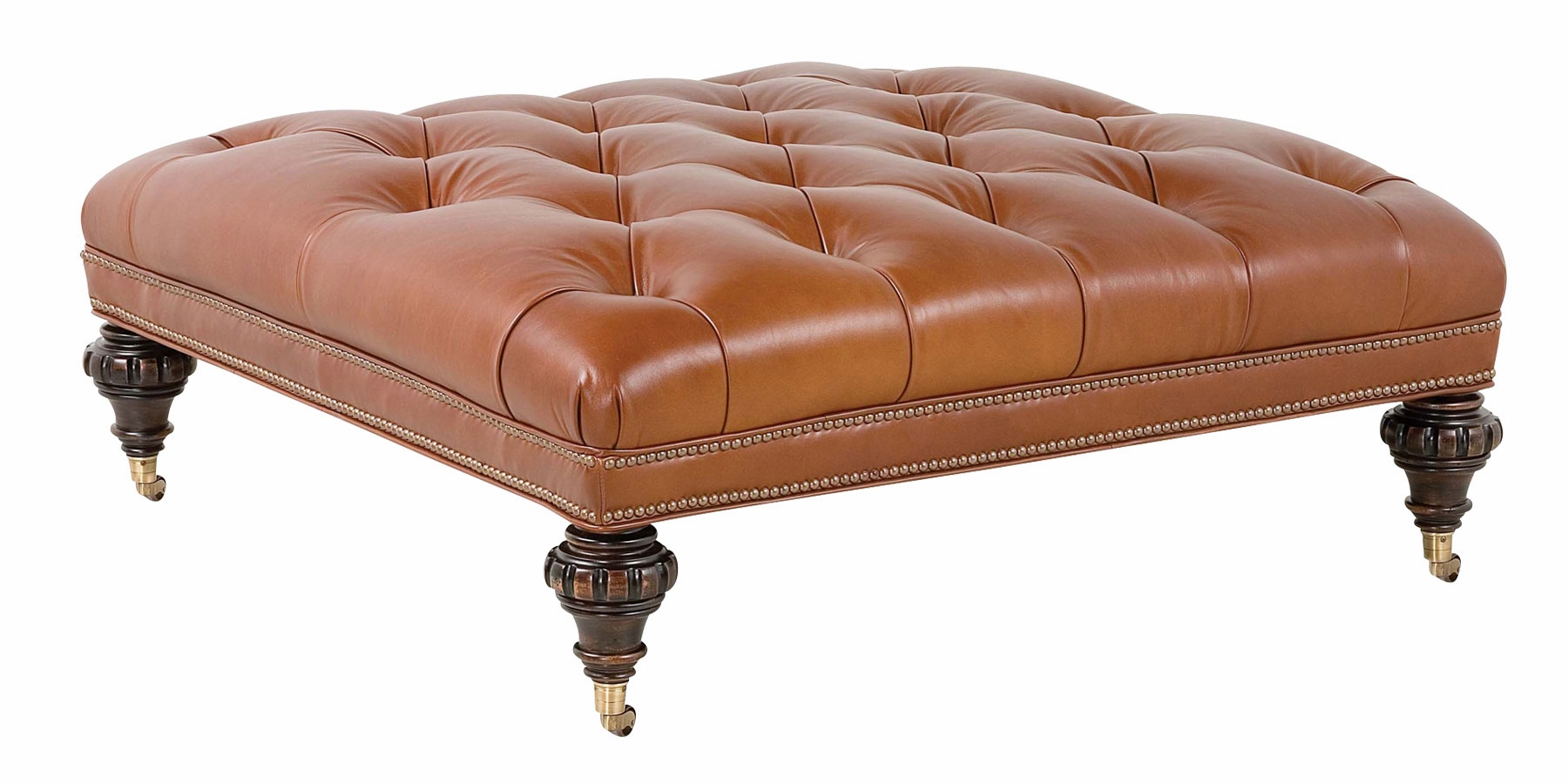 Large Square Traditional Tufted Leather Ottoman Club