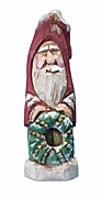 Hand Carved Santa Claus with Wreath #17122