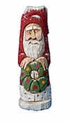 Hand Carved Santa Claus with Wreath #17174