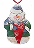 Wood Fok Art  Ornament: Snowman  with  Heart