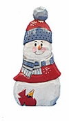 Wooden Christmas Snowman with Cardinal #17234