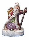 Wooden Santa Claus Carving with Staff #17056