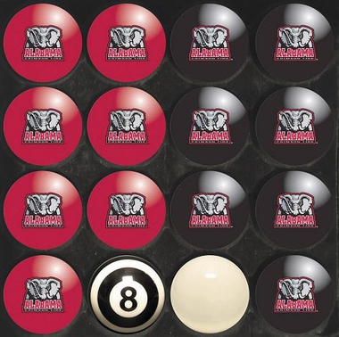 Alabama Home and Away Complete Billiard Ball Set