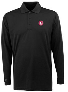 Alabama Mens Long Sleeve Polo Shirt (Color: Black) - Large