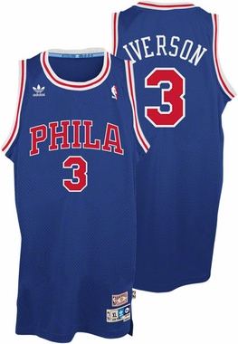 Allen Iverson Philadelphia 76ers Adidas Throwback Blue Swingman Jersey