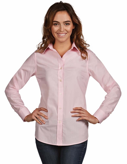 Antigua womens dynasty button down dress shirt color pink for Women s button down dress shirts