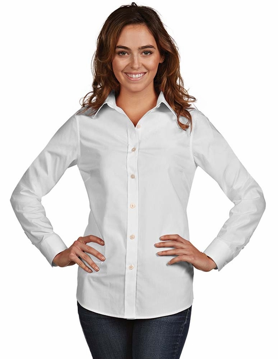 Antigua womens dynasty button down dress shirt color white for Womens white button down shirt