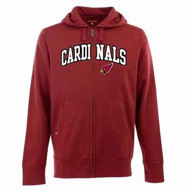 Arizona Cardinals Mens Applique Full Zip Hooded Sweatshirt (Color: Red)