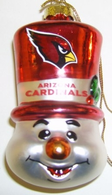 Arizona Cardinals Tophat Snowman Glass Ornament
