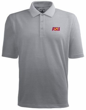 Arizona State Mens Pique Xtra Lite Polo Shirt (Color: Silver)