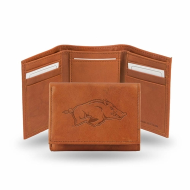 Arkansas Embossed Leather Trifold Wallet