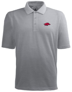 Arkansas Mens Pique Xtra Lite Polo Shirt (Color: Gray) - Large