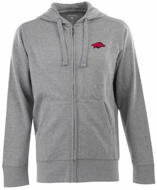Arkansas Mens Signature Full Zip Hooded Sweatshirt (Color: Silver)
