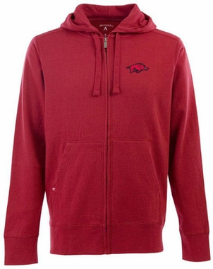 Arkansas Mens Signature Full Zip Hooded Sweatshirt (Color: Red)
